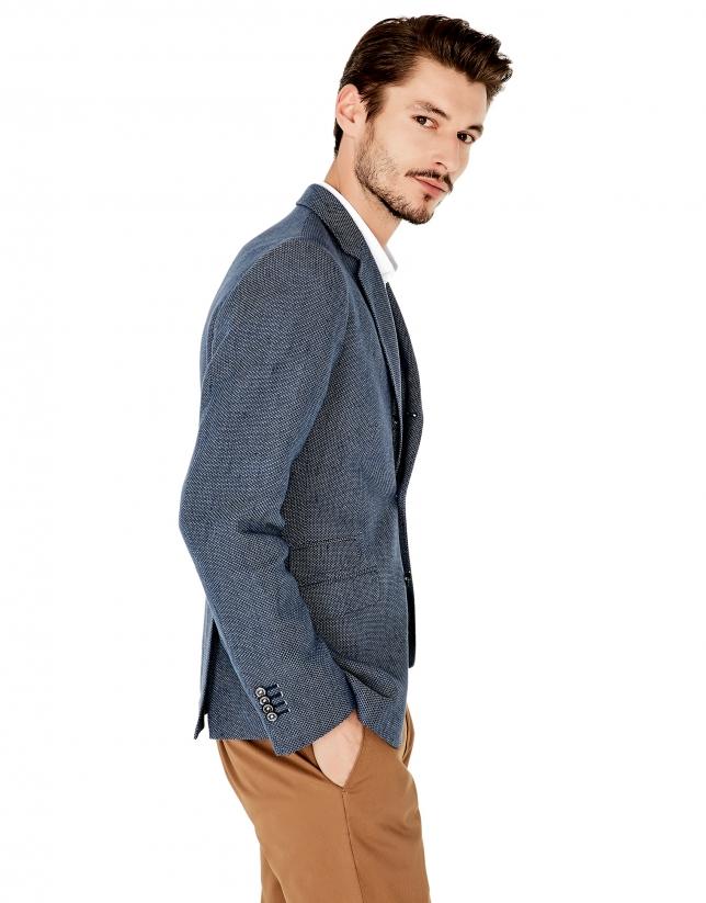 Veste en coton et lin à micromotif bleu roi