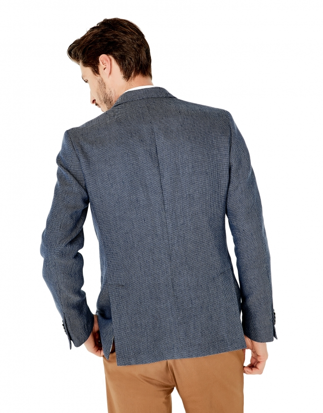 Deep blue microprint cotton/linen sports coat