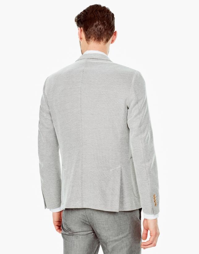 Beige microprint knit sports coat