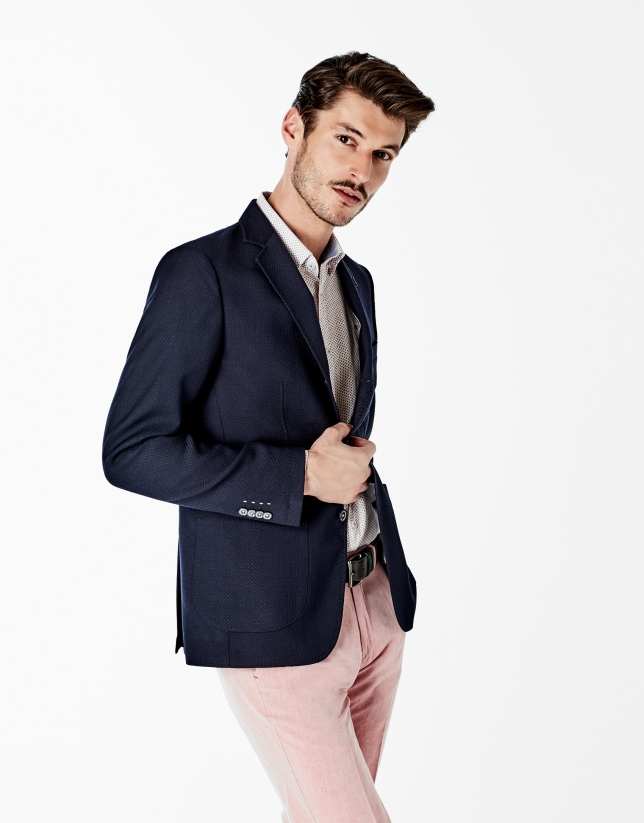 Navy blue structured sports coat