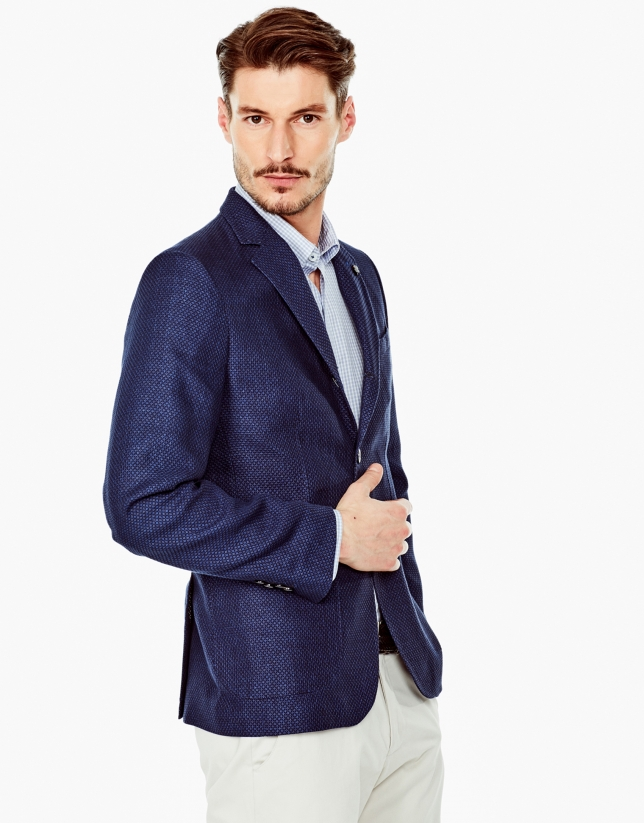 Navy and deep blue jacquard sports coat