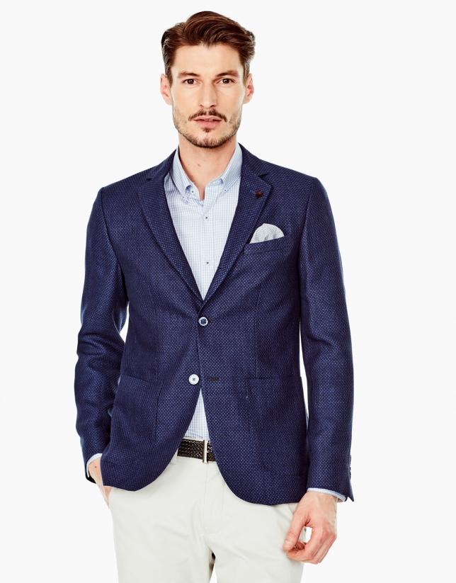 Veste en jacquard bleu marine/bleu roi
