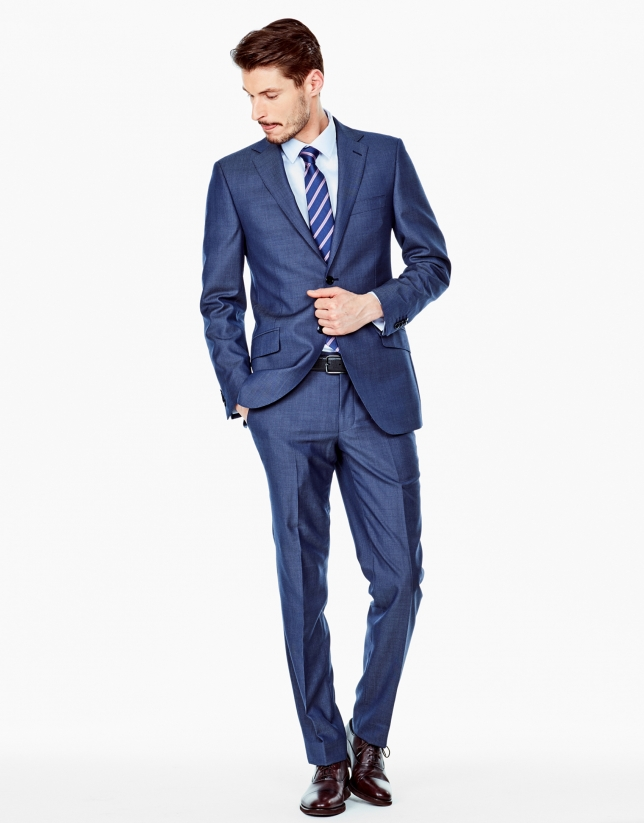 Blue bird's eye weave regular fit suit