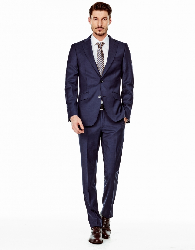 Navy blue microcheck regular fit suit