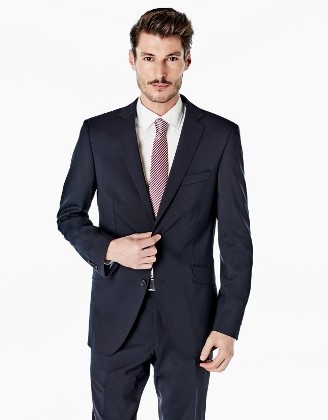 Navy blue twill slim fit suit