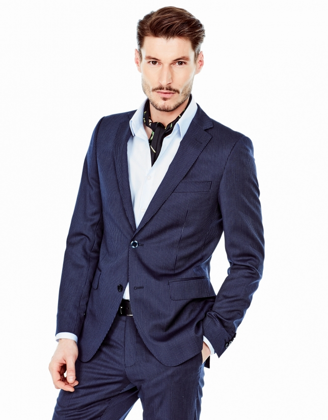 Navy blue striped slim fit suit