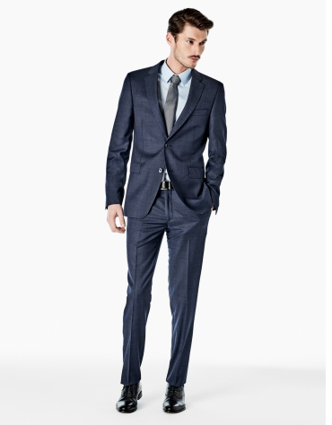 Traje slim fit falso liso azulón