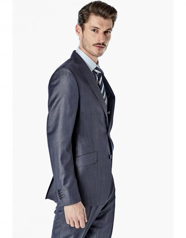 Navy blue jean effect regular fit suit