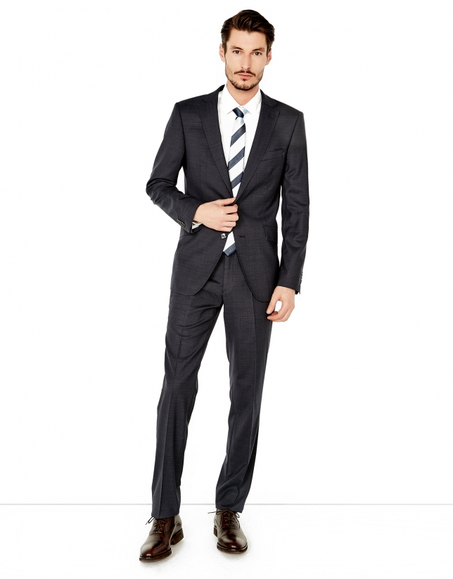 Blue microcheck regular fit suit