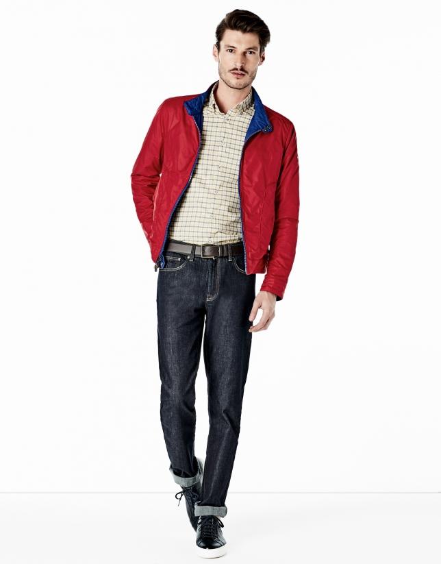 Blouson réversible bleu roi/rouge