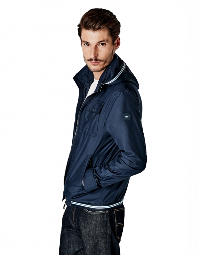 Navy blue parka with removable hood