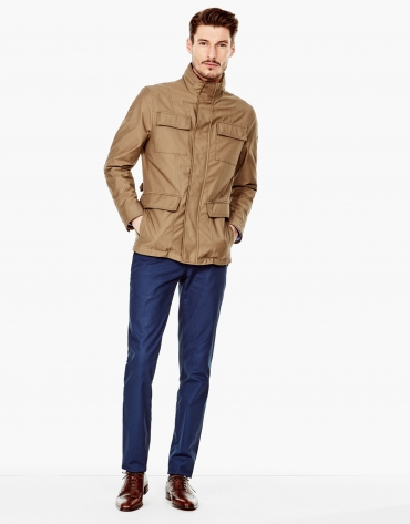 Khaki parka with 4 pockets