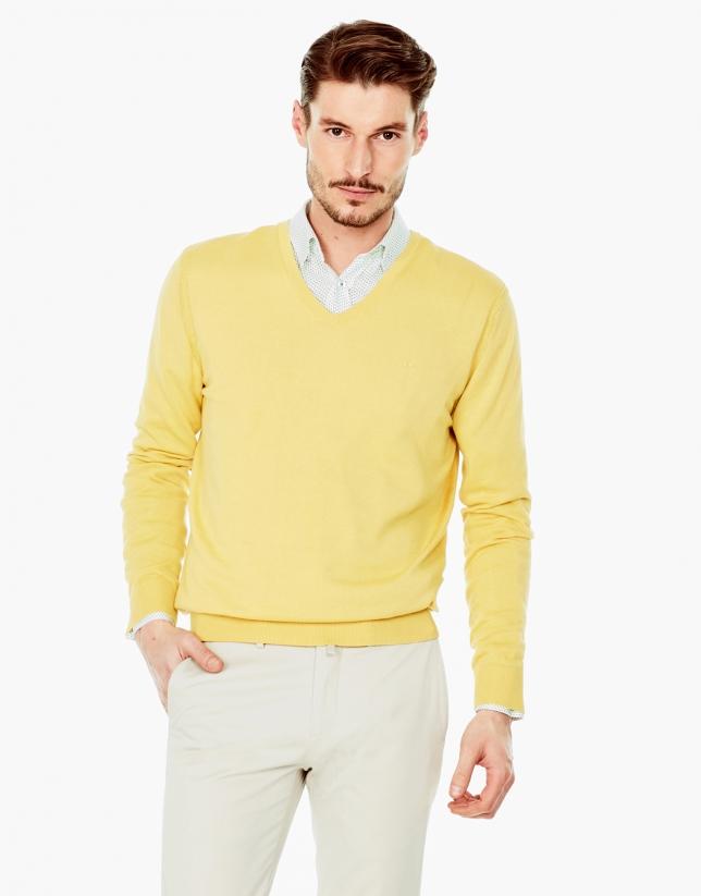 Jersey pico algodón amarillo