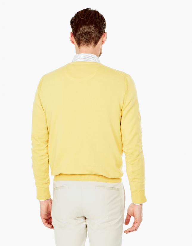 Yellow cotton V-neck sweater