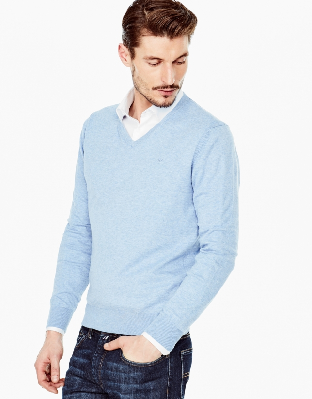 Light blue cotton V-neck sweater