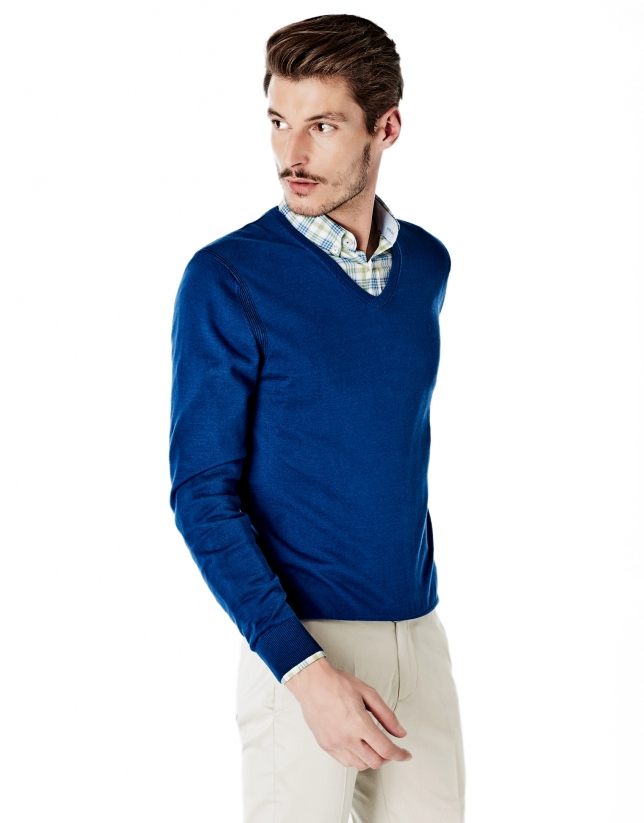 Deep blue cotton V-neck sweater