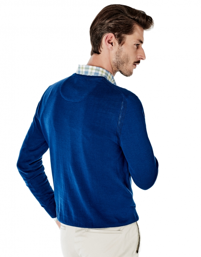 Pull en coton à col V bleu roi