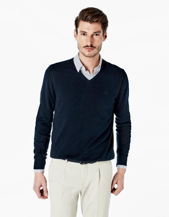 Pull en coton à col V bleu marine
