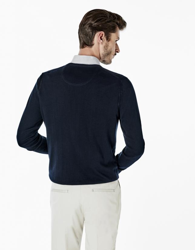 Navy blue cotton V-neck sweater