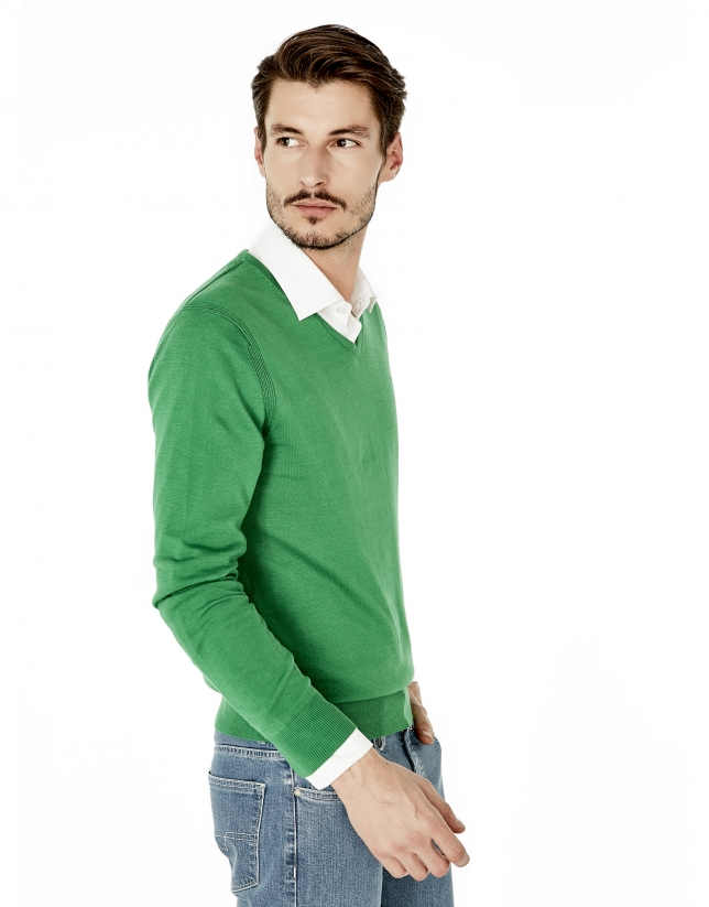 Green cotton V-neck sweater
