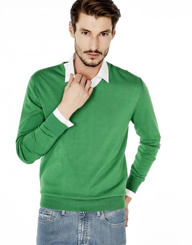 Jersey pico algodón verde