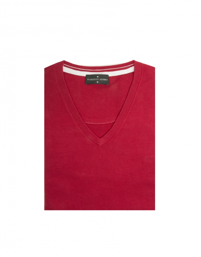 Red cotton V-neck sweater