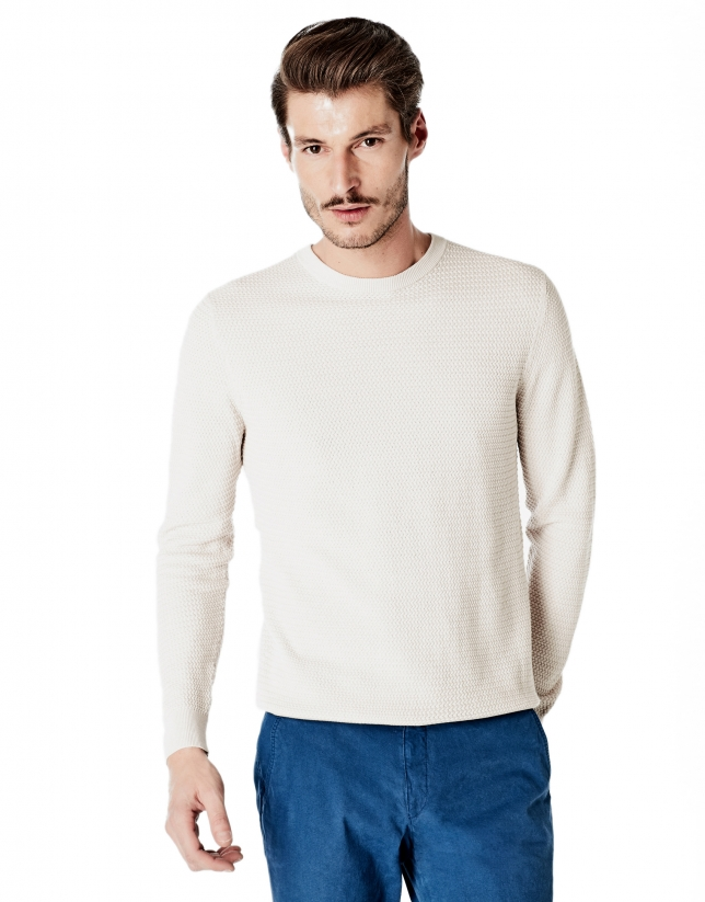 Beige structured square neck sweater
