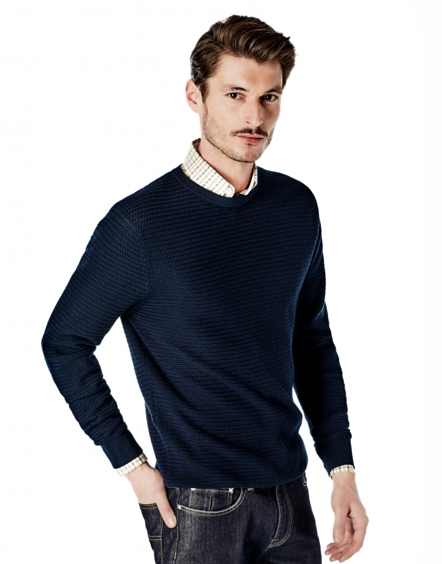 Navy blue structured square neck sweater