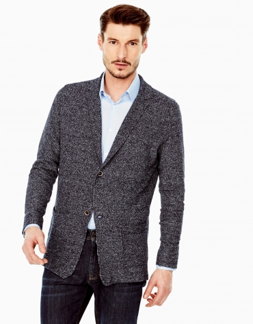 Navy blue structured cotton jacket