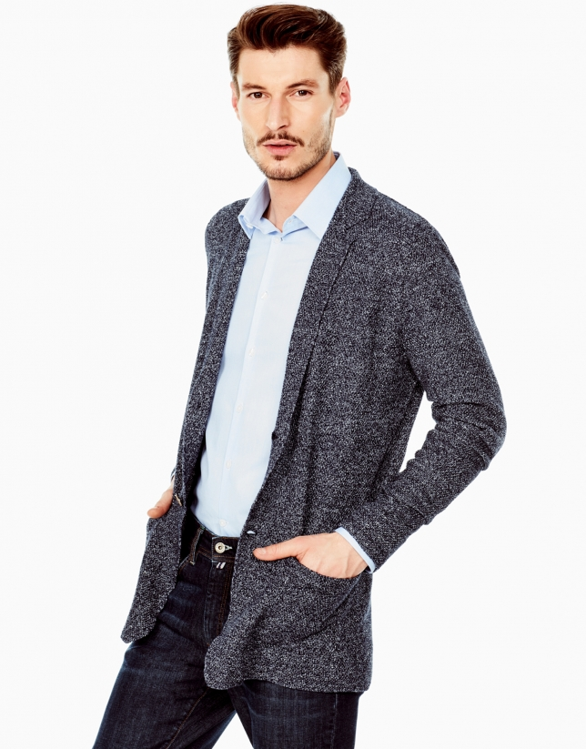 Navy blue structured cotton jacket