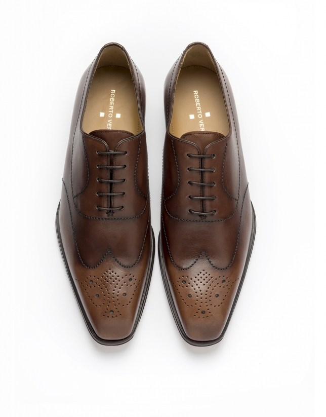 Chaussure Oxford  couture prussienne marron