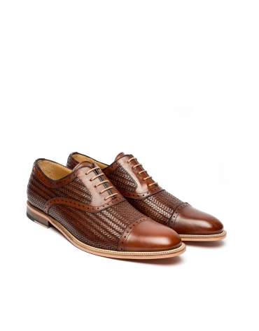 Brown Oxford brogues with braided leather effect