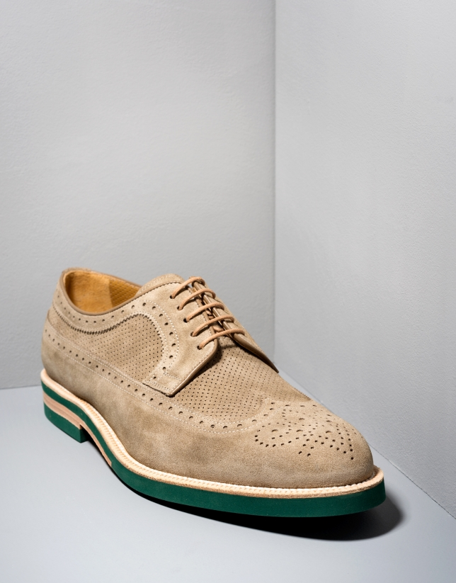 Natural colored suede Brogue shoes