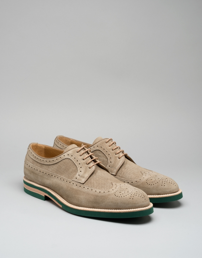 Zapato brogue ante tono natural