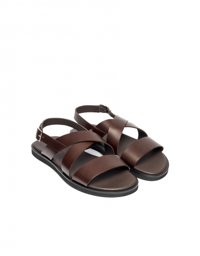 Sandals with brown straps