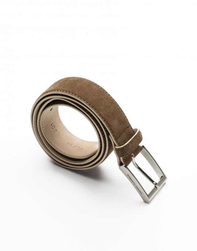 Cinturón visón lujado en beige