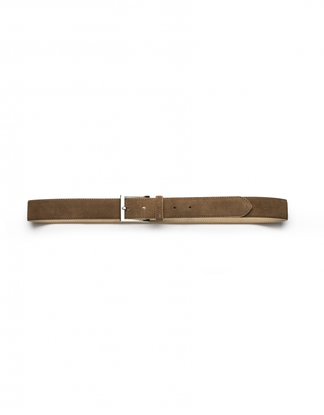 Beige and mink burnished belt