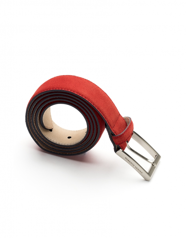 Red and navy blue burnished belt