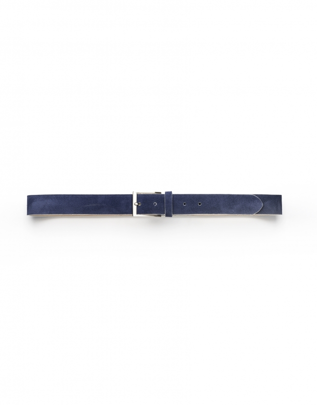 Navy blue embossed belt
