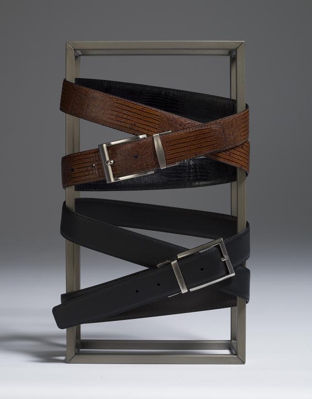 Cinturón grabado reversible marrón/negro