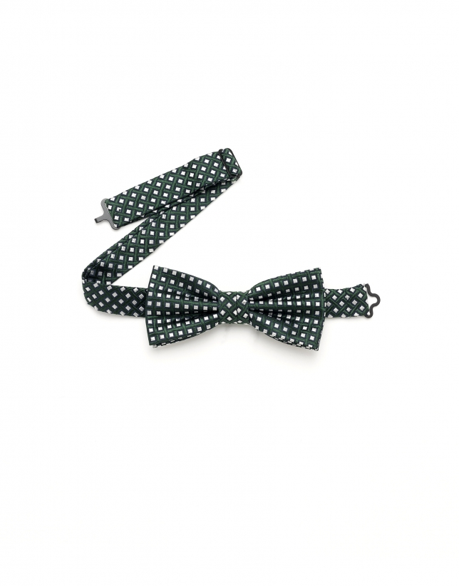 Green geometric print bowtie