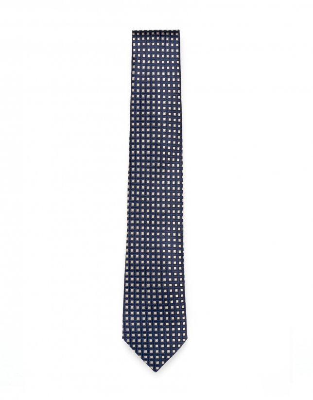 Corbata jacquard geométrico azul/tostado