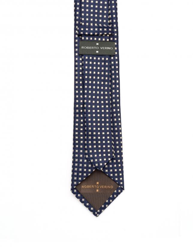 Blue/toast geometric jacquard tie