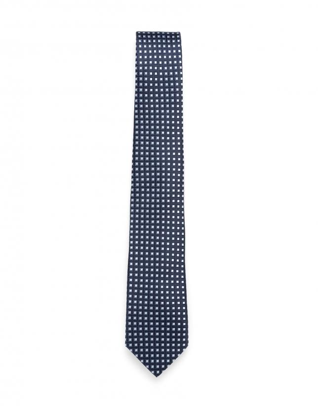 Corbata jacquard geométrico azul