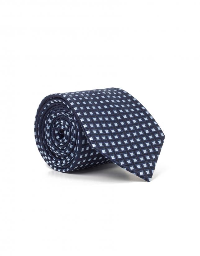 Blue geometric jacquard tie