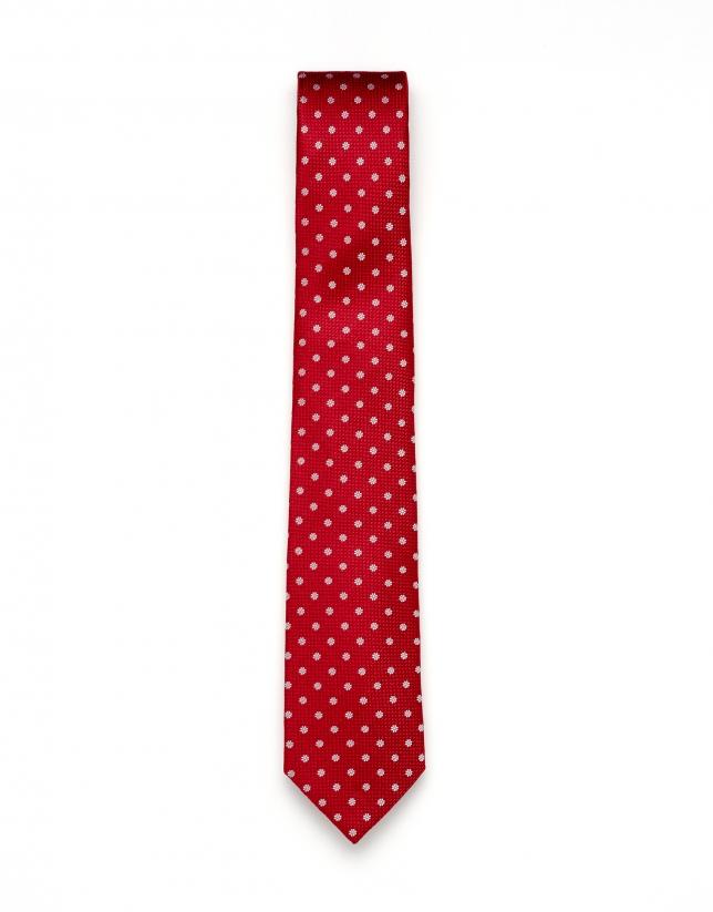 Cravate rouge imprimée à fleurs
