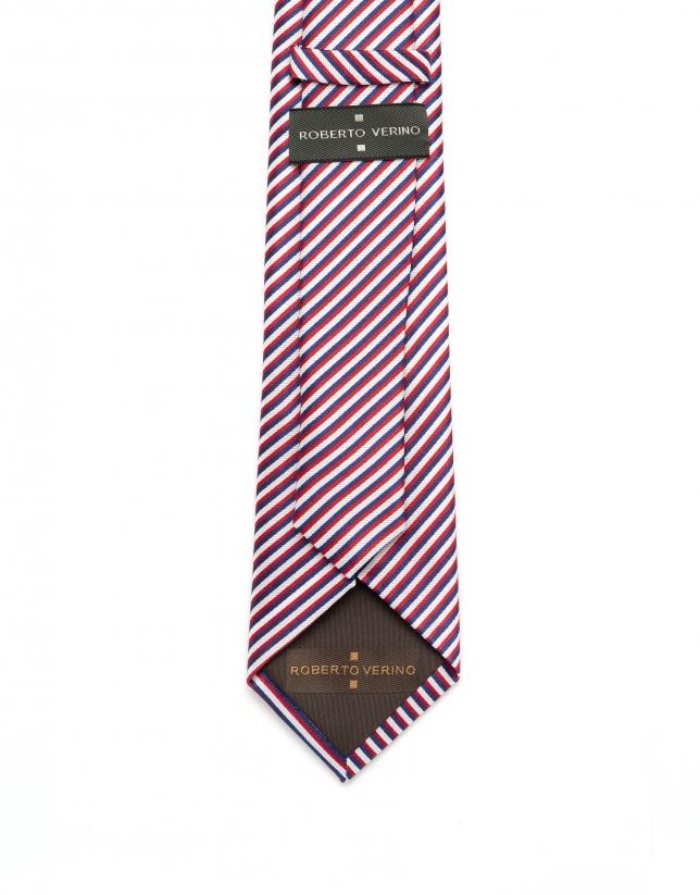 Corbata de rayas azul/rojo/blanco