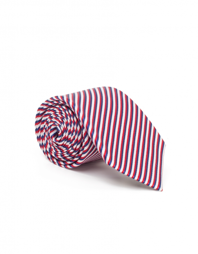 Blue, red and white striped tie