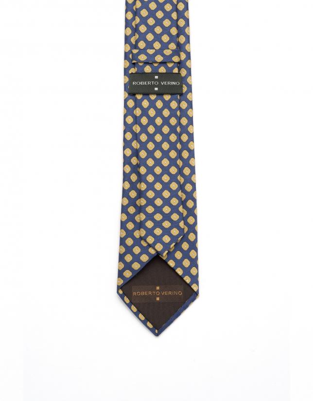 Cravate en jacquard géométrique jaune