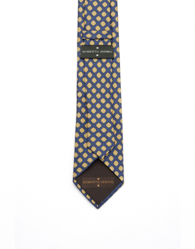 Yellow geometric jacquard tie